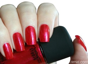 MAC Cosmetics MAC Cosmetics Rouge Combustion Red Nail Laquer with Pink Sparkles