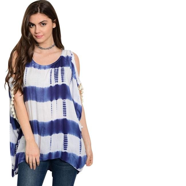 Preload https://item2.tradesy.com/images/navy-white-tie-dye-open-cold-shoulder-new-fringe-tunic-blouse-size-8-m-21545651-0-1.jpg?width=400&height=650