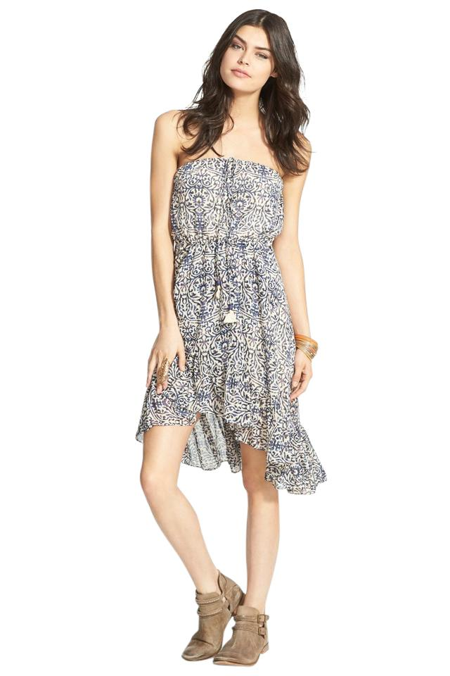 b06b9ac5c439 Free People Blue Multi - Safari Blouson Asymmetrical Flowy Strapless Short  Casual Dress