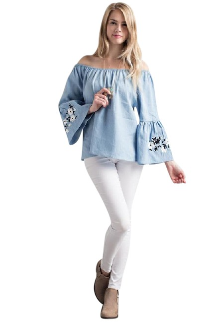 Item - Sky Bell Sleeve Off Shoulder Chambray Embroidered Blouse Size 10 (M)