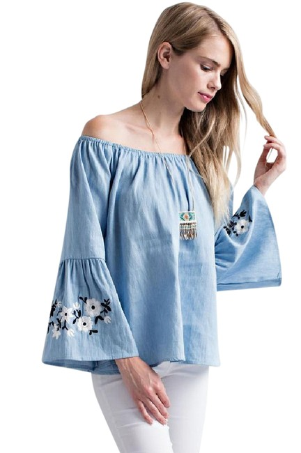 Preload https://img-static.tradesy.com/item/21545740/sky-bell-sleeve-off-shoulder-chambray-embroidered-blouse-size-12-l-0-1-650-650.jpg