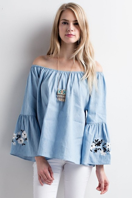 Chloah Offshoulder Chambray Embroidered Bellsleeve Top sky