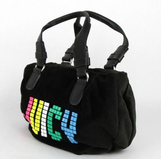 Juicy Couture Rainbow Studded Velour Satchel in Black