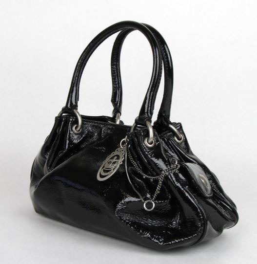 Juicy Couture Patent Leather Fluffy Satchel in Black