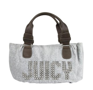 Juicy Couture Studded Velour Etiquette Satchel in Gray, Brown