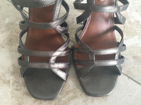 BCBGMAXAZRIA Metallic Strappy Square Toe Pewter Sandals