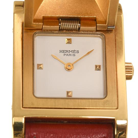 Hermès Hermes Medor Watch PM Rouge Calfskin Leather Band