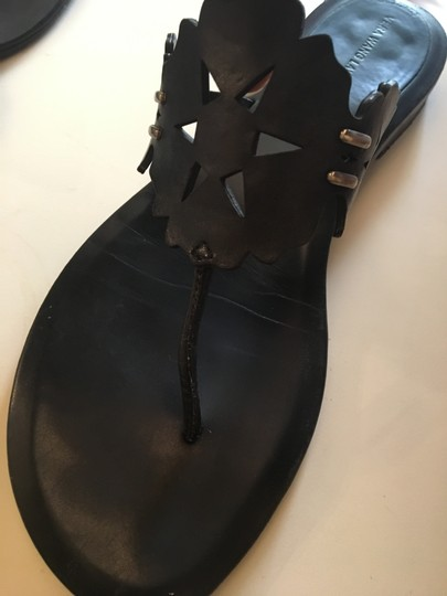 Vera Wang Lavender Label Leather Geometric Black Sandals Image 2