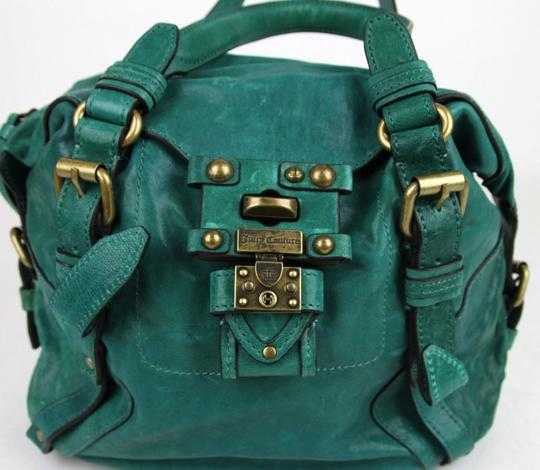 Juicy Couture Polynesian Leather Turnlock Satchel in Turquoise