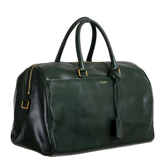 Preload https://item4.tradesy.com/images/saint-laurent-duffle-women-s-calfskin-classic-12-forest-green-leather-suede-leather-satchel-21546333-0-0.jpg?width=440&height=440