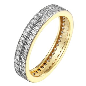 Other 14k Gold Finish Engagement Band Sterling Silver 2 Row