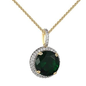 Other Green Ruby CZ Round Pendant Solitaire 14k Gold Finish Lab Diamonds 24