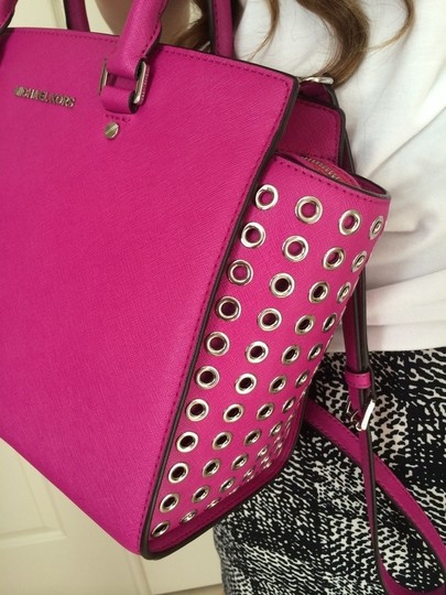 Michael Kors Leather Satchel in PINK/FUSCHIA