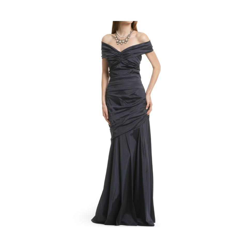 Theia Navy Blue Taffeta Stretch Ruched Evening Gown Long Formal ...