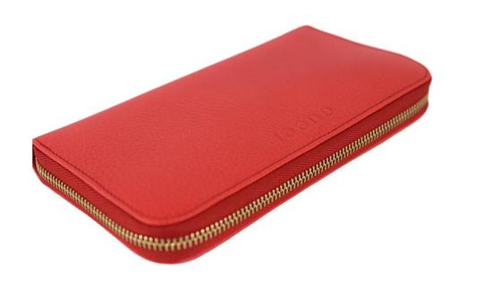 Gucci Gucci Women's Textured Leather Zip Wallet 363423 6511 Coral Red