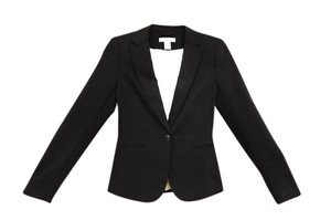 H&M Jacket Mink Wool Embroidered Black Blazer