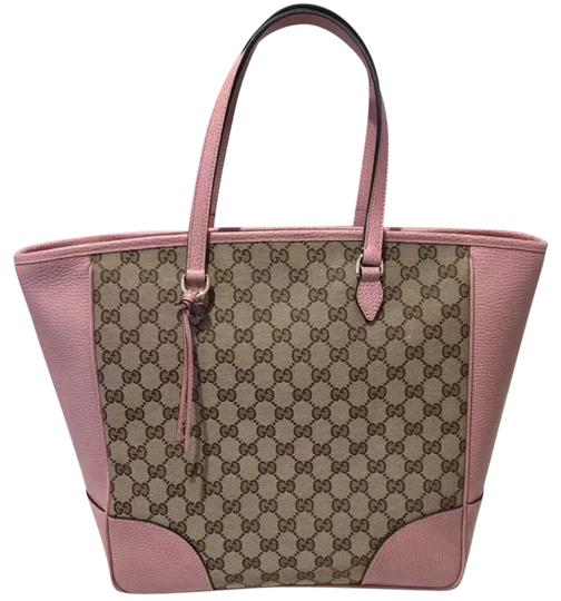 Preload https://item1.tradesy.com/images/gucci-gg-leather-pink-canvas-tote-21546915-0-1.jpg?width=440&height=440