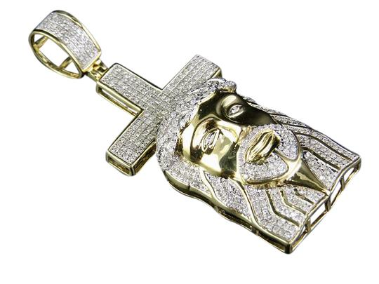 Preload https://item3.tradesy.com/images/10k-yellow-gold-men-s-genuine-diamond-jesus-christ-cross-pendant-charm-21547047-0-1.jpg?width=440&height=440