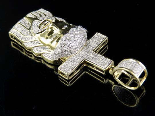 Other Men's 10K Yellow Gold Genuine Diamond Jesus Christ Cross Pendant Charm