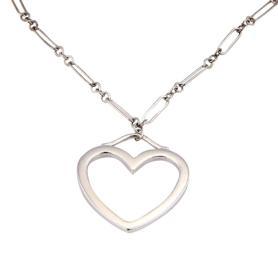 2a9a79a1c Tiffany & Co. 18K White Gold Chain Link Medium Open Heart Pendant Necklace  Image 0 ...