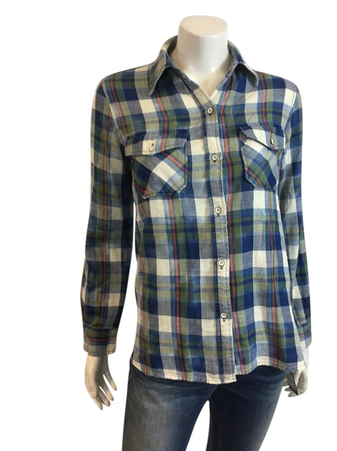 Preload https://item3.tradesy.com/images/currentelliott-bluewhite-36617-bluewhite-check-button-front-shirt-1-button-down-top-size-4-s-21547112-0-1.jpg?width=400&height=650