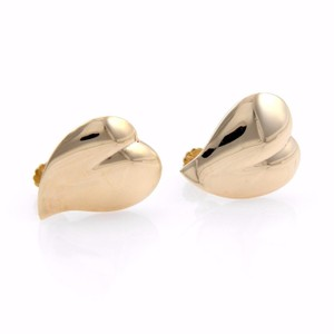 Tiffany & Co. Vintage 14k Yellow Gold Hearts Screw Back Earrings