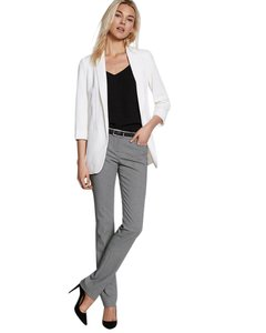 Express Sleek Exclusive Textured Comfortable Classic Straight Pants Gray/ Black Pattern