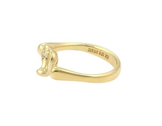 Tiffany & Co. Elsa Peretti Diamond Open Heart 18k Yellow Gold Ring Size 5