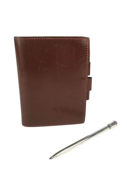 Preload https://img-static.tradesy.com/item/21547296/hermes-brown-leather-notescard-sterling-silver-pen-wallet-0-1-540-540.jpg
