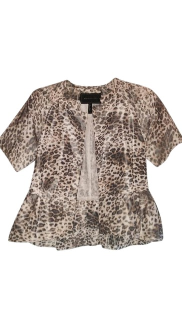 BCBGMAXAZRIA Top Animal Print, Beige, Brown,Black