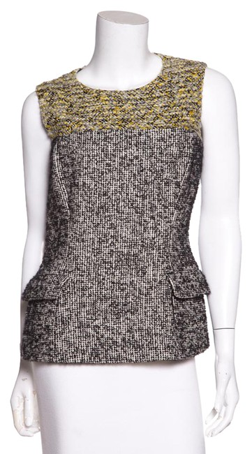 Preload https://img-static.tradesy.com/item/21547380/dior-christian-sleeveless-tweed-black-and-yellow-top-0-1-650-650.jpg