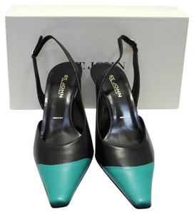 St. John Collection Colorblock Heels BLACK/GREEN Pumps
