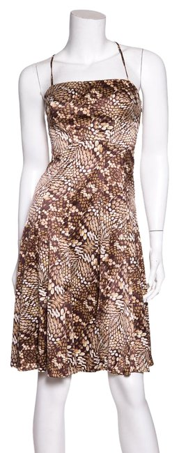 Preload https://item2.tradesy.com/images/just-cavalli-brown-paneled-and-print-cocktail-dress-size-4-s-21547426-0-1.jpg?width=400&height=650