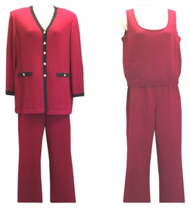 St. John St. John Collection by Marie Gray 3-Pc.Black Trim Knit Pant Suit 14