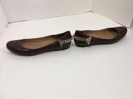 Rachel Zoe Lining Brown snakeskin all leather padded insoles gold metal linked chain ballet Flats