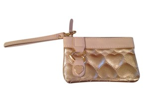 Betsey Johnson Hearts Collection Heart Wristlet in Gold