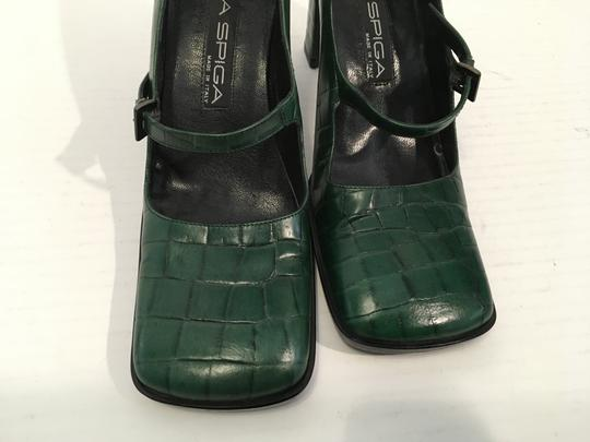 Via Spiga Snake Italy Make an offer Green embossed all leather square toe cute footstrap Italian Pumps