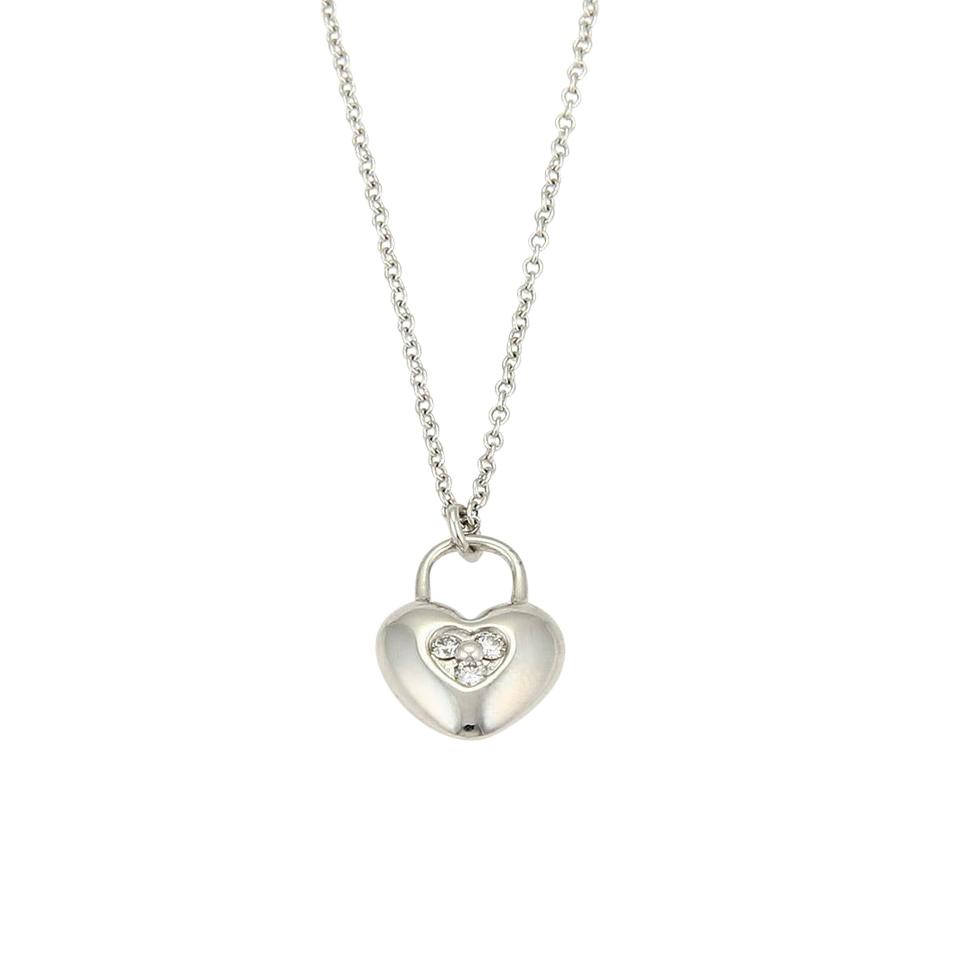 7f3dbd9c4 Tiffany & Co. Diamond Heart Lock 18k White Gold Pendant Necklace Image 0 ...