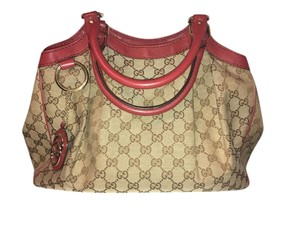 c39c57a8811 Gucci Gg Monogram Sukey Handbag Tote in Red and Brown