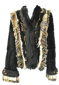 CEDRIC'S Luxe Ultra Soft Rex Rabbit Leather Fringes Trim BLACK Jacket