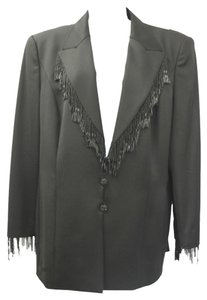 ESCADA ESCADA BEADED FRINGES BLACK EVENING COCKTAIL 3-PC. PANT SKIRT SUIT 44