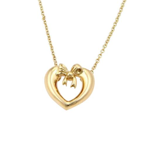 Tiffany & Co. 18K Yellow Gold Bow Tie Heart Pendant Necklace