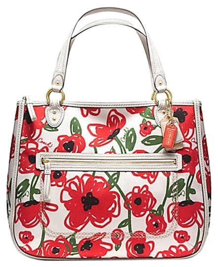 Coach Red Flowers Floral Tote in white MUITICOLOR