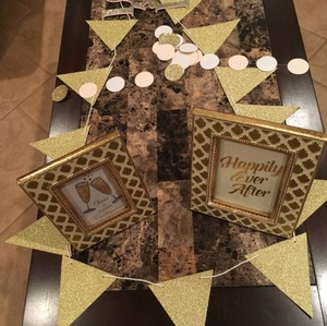 Gold/Champagne and Blush Love Sweet Love & Banner Reception Decoration