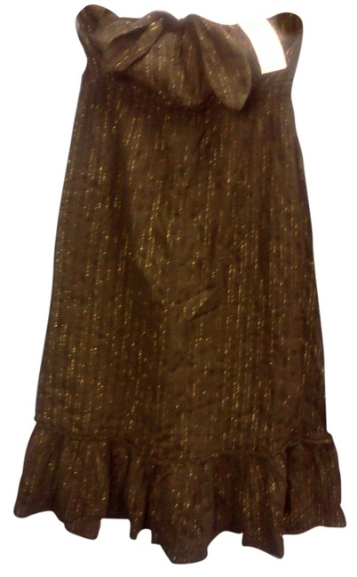 Old Navy short dress brown with gold pinstripes on Tradesy