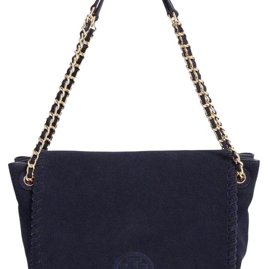 Preload https://img-static.tradesy.com/item/21548374/tory-burch-marion-small-flap-shoulder-navy-suede-leather-tote-0-5-540-540.jpg
