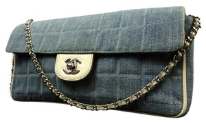 Chanel Denim Jean Quilted Flap East West Shoulder Bag