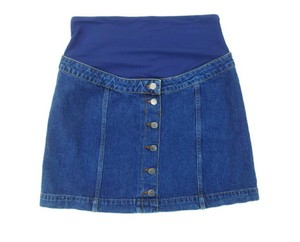 """Topshop Denim Jean Skirt Soft belly band Faux Buttons front 15"""""""