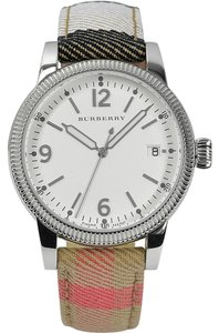 Burberry Burberry Silver Dial Check Fabric Ladies Watch BU7824