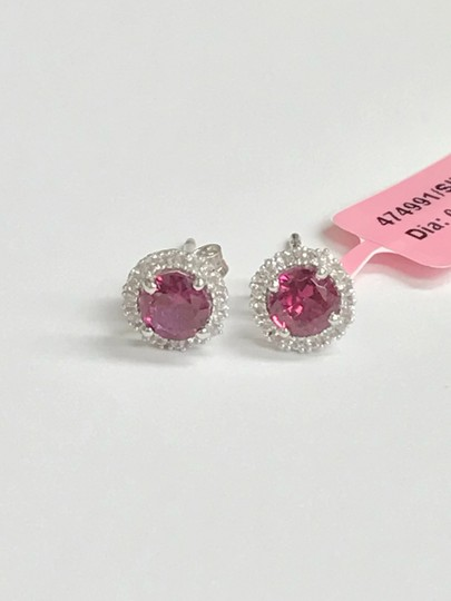 JWBR JWBR Sterling Silver Round Halo Stud Earrings - Pink Turmaline & CZ